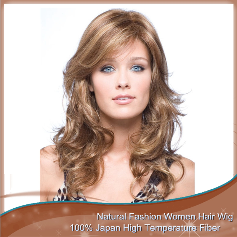 1PC Synthetic Long Wavy Curly Strawberry Blonde Wig With Bangs Japanese Kanekalon Fiber Free1pc Cap Good Quality