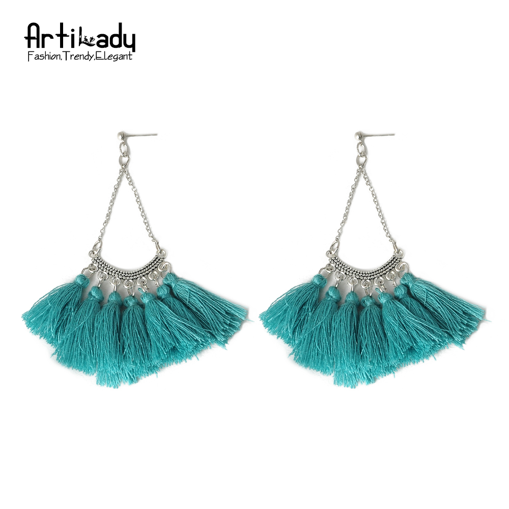 Artilady retro blue tassels earrings vintage women silver ...