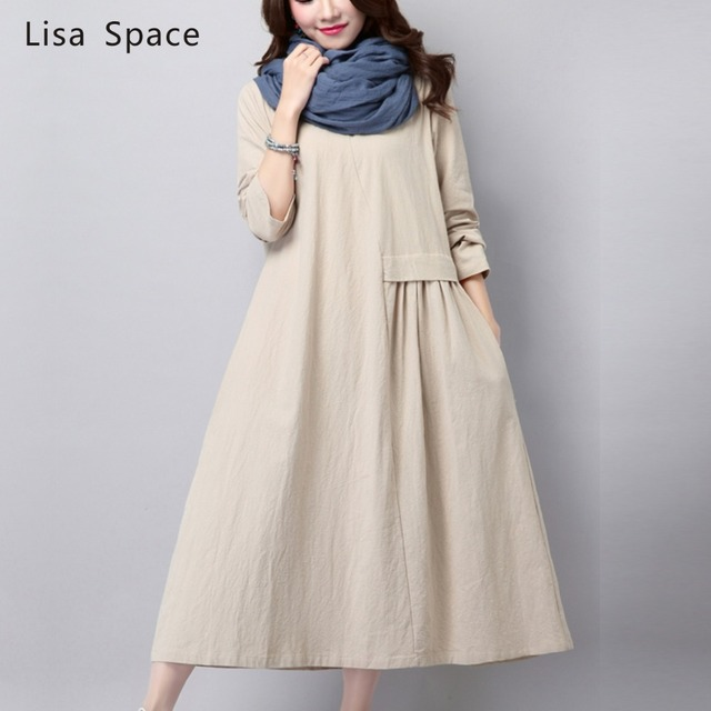 New Fall 2015 Women's Fashion Vintage Loose Big Yards National Wind Linen Cotton Dress High Quality Casual Dress Female Q201