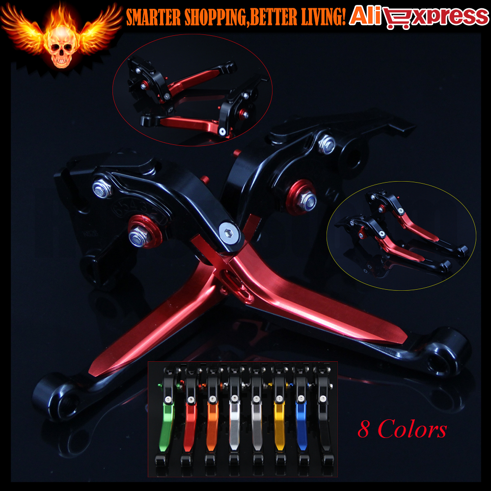 Red+Black 8 Colors Adjustable Folding Extendable Motorcycle Brake Clutch Levers For Yamaha FZ1 FAZER 2001 2002 2003 2004 2005 adjustable billet short folding brake clutch levers for honda xl 1000 varadero 2001 2002 2003 2004 2005 06 07 08 09 10 11 12 13