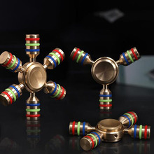 HOT JX-6 Rainbow Fidget Spinner Finger Spinner Hand Spinner Brass Metal For Autism Adult Anti Relieve Stress Toy Spiner