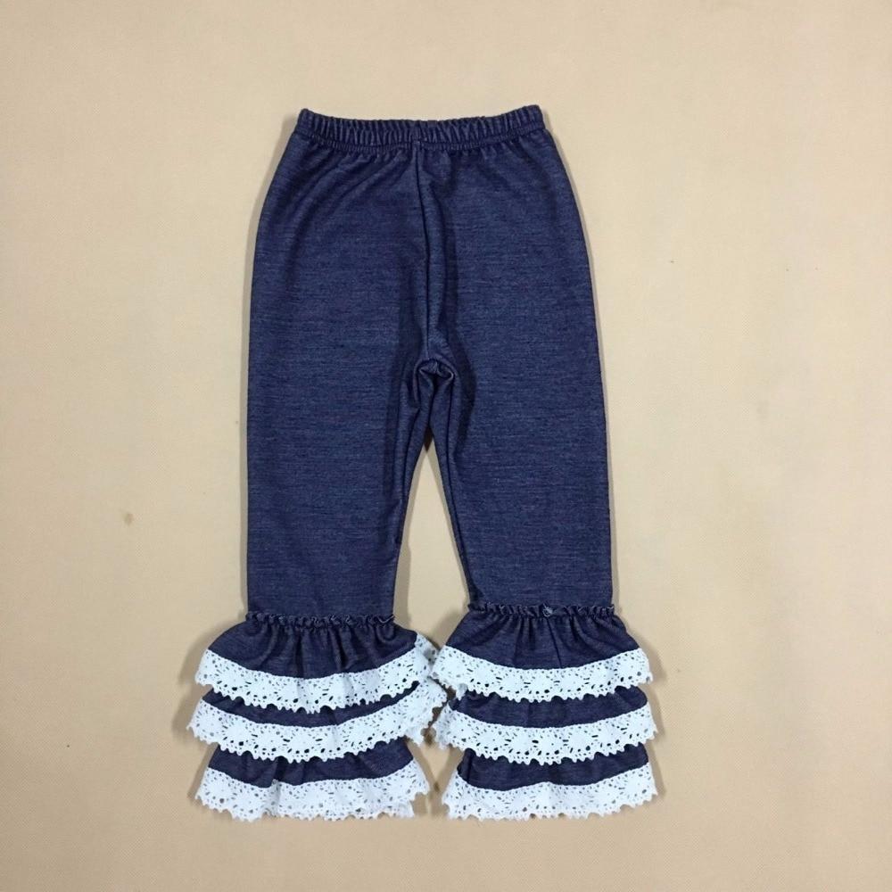 Factory Wholesale Hot Sale Baby Girl Denim Pants Winter Children Elastic Strecth Denim Fashion Jeans Kids Ruffle Pants P018