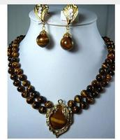 Exquisite High Luxurious 2 Row 8mm Natural Tiger Eye Stone Necklace Pendant Clip Pendant Necklace Earrings Set