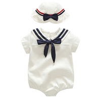 new summer baby girl rompers navy style white cotton rompers and hat sets new born baby girl clothes