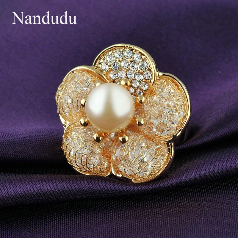 Nandudu Flower Pearl Ring Charming Elegant Fashion Female Women Girl Wedding Party Rings Accessories Jewelry Gift R116