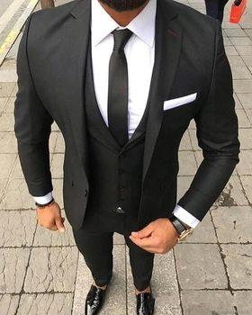 Stylish Design One Button Black Groom Tuxedos Groomsmen Notch Lapel Mens Suits Blazers (Jacket+Pants+Vest+Tie) W:1149