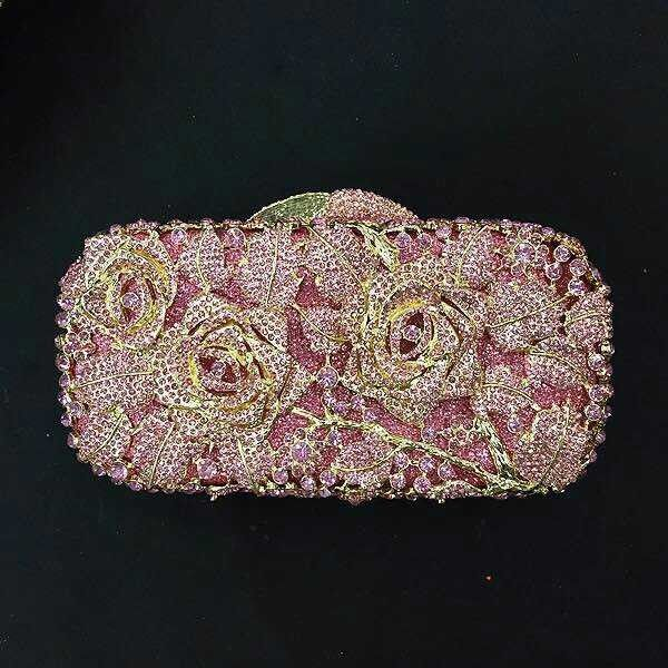 #8207P pink Crystal ROSE Flower Floral Bridal Party Gold hollow Metal Evening purse clutch bag handbag case box