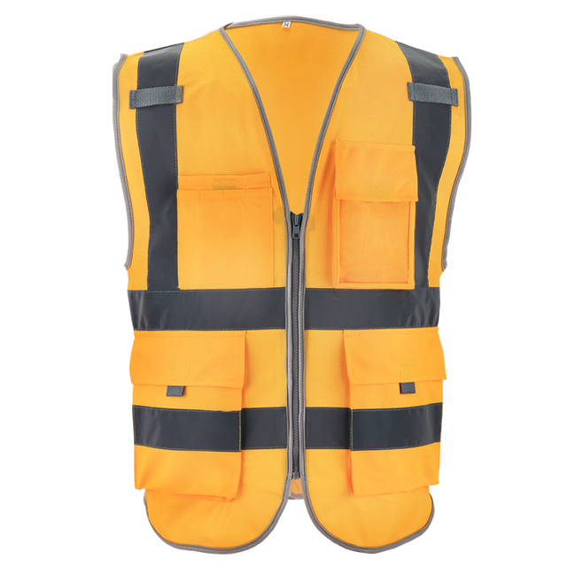 SFvest reflective waistcoat safety vests reflective multi pockets fluorescent yellow orange multi color options silk printing 4