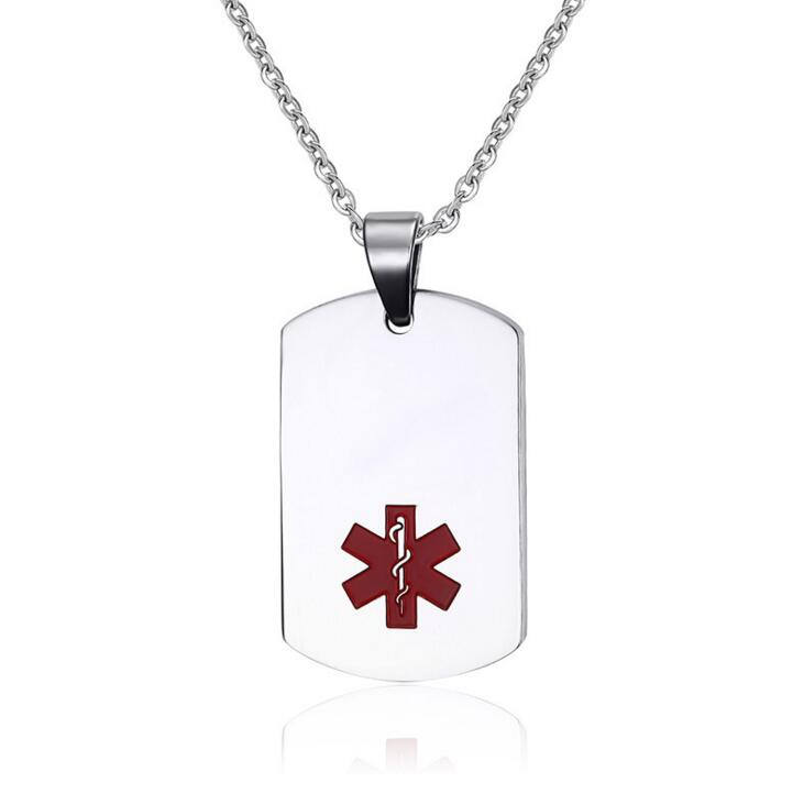 Fine Jewelry Mens Stainless Steel Large Dog Tag Medical Pendant n8zUw6