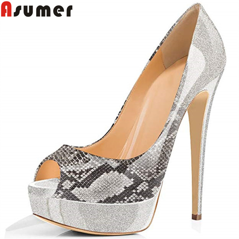 ASUMER Large size fashion spring autumn shoes woman peep toe shallow pumps women shoes platform super high heels shoes Female ASUMER Large size fashion spring autumn shoes woman peep toe shallow pumps women shoes platform super high heels shoes Female