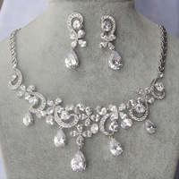 New Wedding Jewellery Set Austrian Crystal Bridal Jewelry Sets For Women Statement Necklace Earrings Set S052