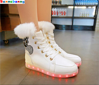 2017 New Style Hot Selling Luminous Shoes Gennuine Leather Fluorescent Snow Boots LED Lights UBS Rechargeable