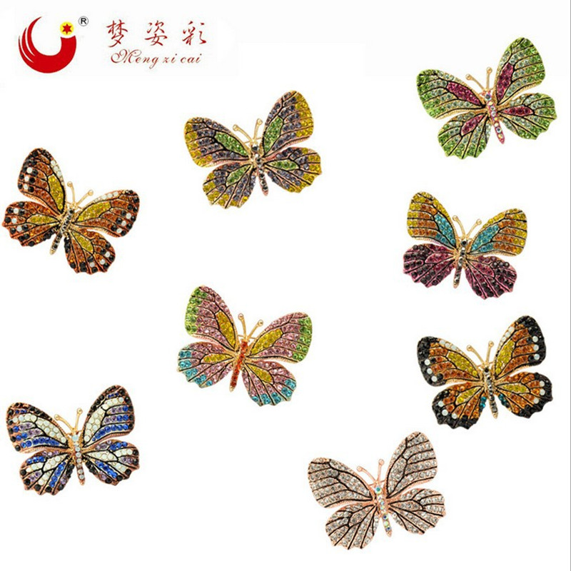 MZC 2018 Fashion Colorful Butterfly Brooch Wedding Crystal Rhinestone Insect Broche Mujer Bouquet Hijab Scarf Pin Eight Colour