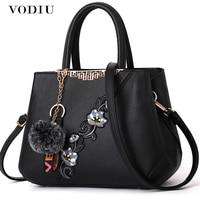 Women Handbags Women Leather Bag Women Shoulder Bags Big Boston Flower Embroideried Chinese Style Metal Rivets Pendant Fashion