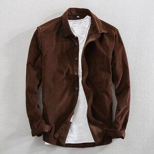 Image 2 - Primavera e outono marca de moda estilo japão vintage cor sólida veludo camisa masculina casual fino algodão manga comprida camisas