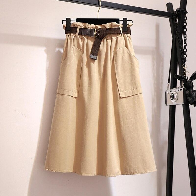 Surmiitro Midi Knee Length Summer Skirt Women With Belt 19 Spring Casual Cotton Solid High Waist Sun School Skirt Female 9