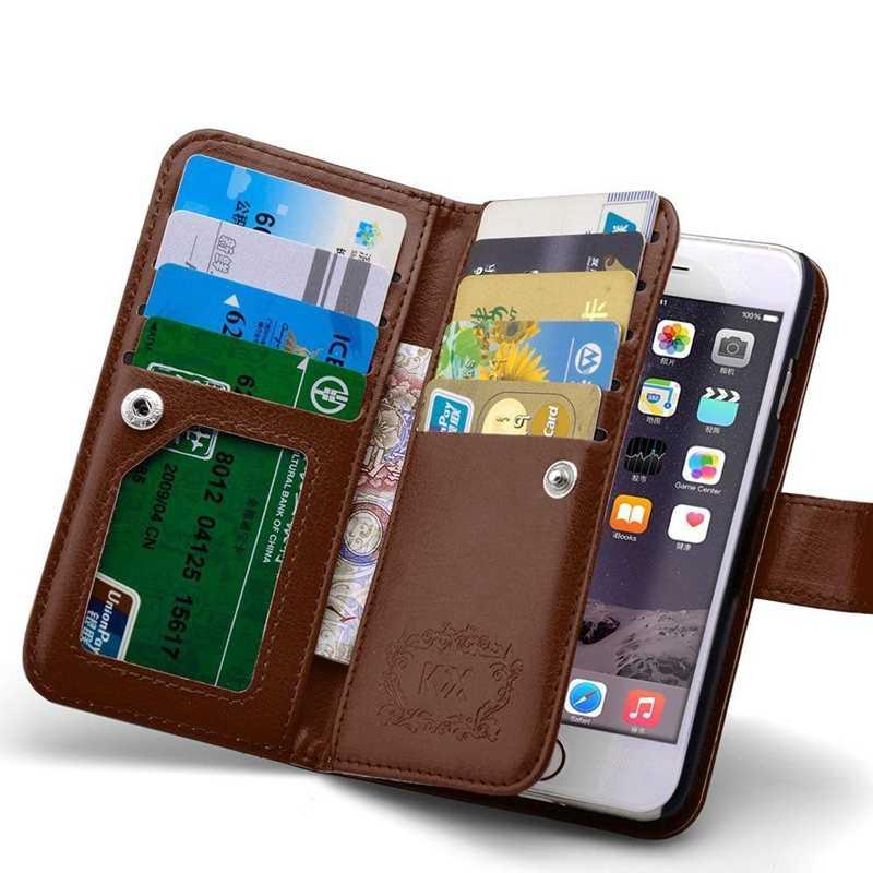 9 kart tutucu çok fonksiyonlu cüzdan kılıf iPhone 5 5S 5G Flip kapak deri fotoğraf çerçevesi sert PC geri durumda 2 in 1 kahverengi