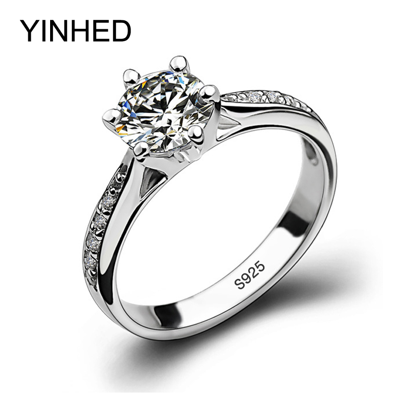 YINHED 100% Solid 925 Sterling Silver Wedding Rings For