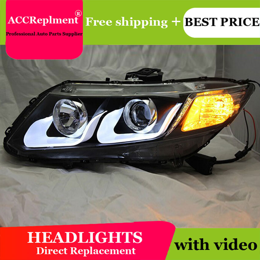 AUTO.PRO Double U-Angel Eyes LED DRL For Honda civic LED headlights 2011-2014 Q5 bi xenon lens car styling H7 parking car light hireno car styling headlamp for 2011 15 honda civic headlight assembly led drl angel lens double beam hid xenon 2pcs