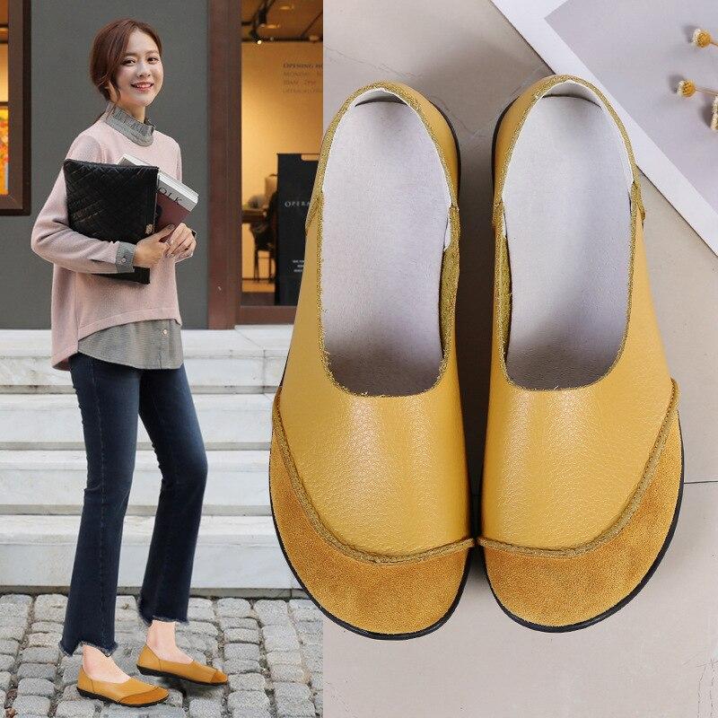 2018 automne et hiver nouvelles chaussures de marche bouche peu profonde à plat avec des chaussures de marche douces B5V1-B5V4