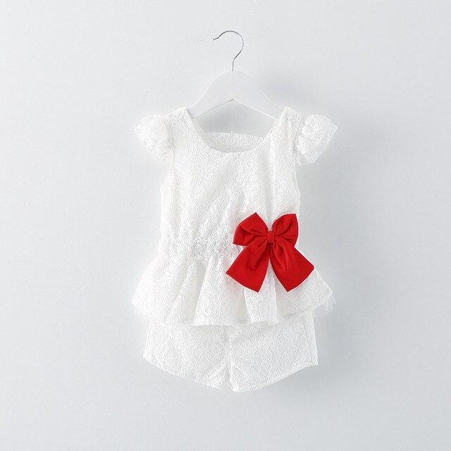 Новые прибыл 2016 лето кружева младенцев девочек одежда установить красивый бант детские girls party костюм для новорожденных пижамы детские оригинал