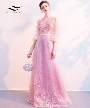 Solovedress O-Neck Lace Evening Dresses Half Sleeves A Line Illusion Appliques Sashes Pink Formal Gown vestido de festa SLD-S008