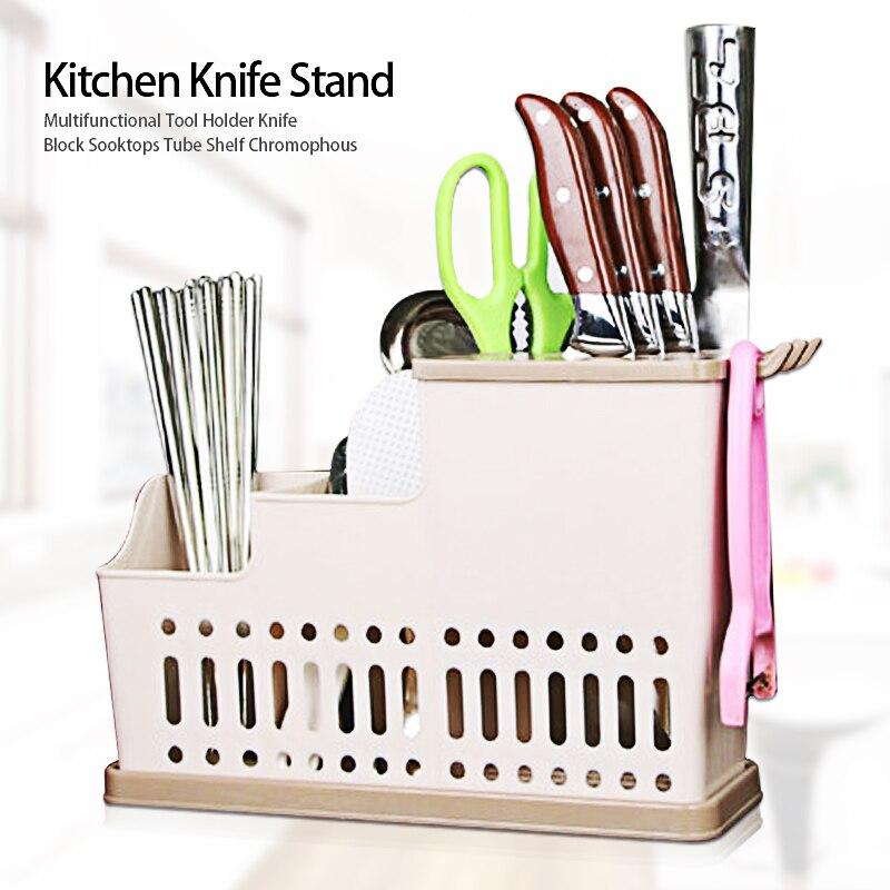 Multifunction Knife Holder Plastic Block Bar Dividing Grid Barrel Chopsticks Cage Cutlery Holder Stand For Knives Kitchen Tools