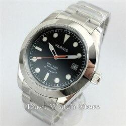 40mm czarna tarcza Parnis automatyczny ruch ze stali nierdzewnej szkło szafirowe zegarki męskie