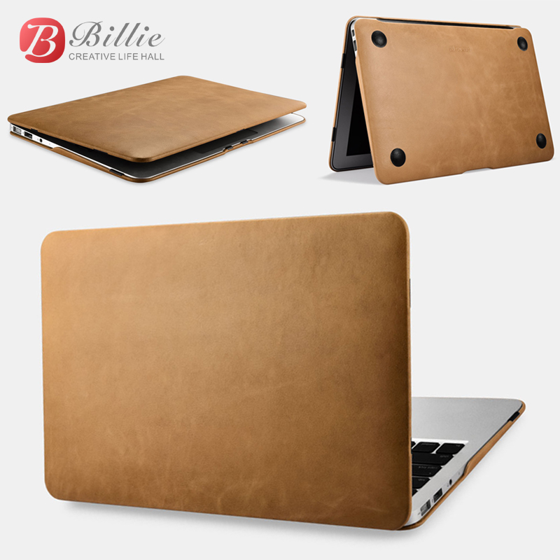 iCarer Brand Vintage Book Style Slim Folio Case For MacBook Air 11 Genuine Leather Cover For Macbook Air 11 inch Fundas Brown