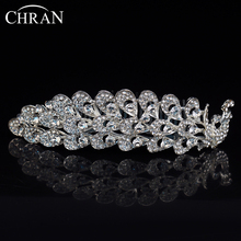 CHRAN Peacock Designer Hair Jewelry Brand Statement Wedding Jewelry Wholesale Silver Plated Crystal Bridal Crowns Accessories