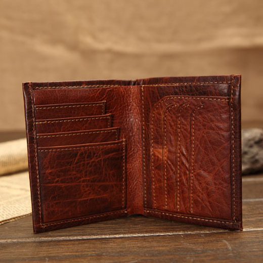cf045bb2fd90 Handmade Leather Wallet for men old classic bifold real leather purse oil  wax