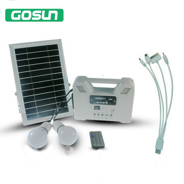Portátil Sistema de Iluminação Solar Casa 2 lâmpadas com Painéis FOTOVOLTAICOS Com Rádio MP3 USB Função de Rádio Do Sistema Solar
