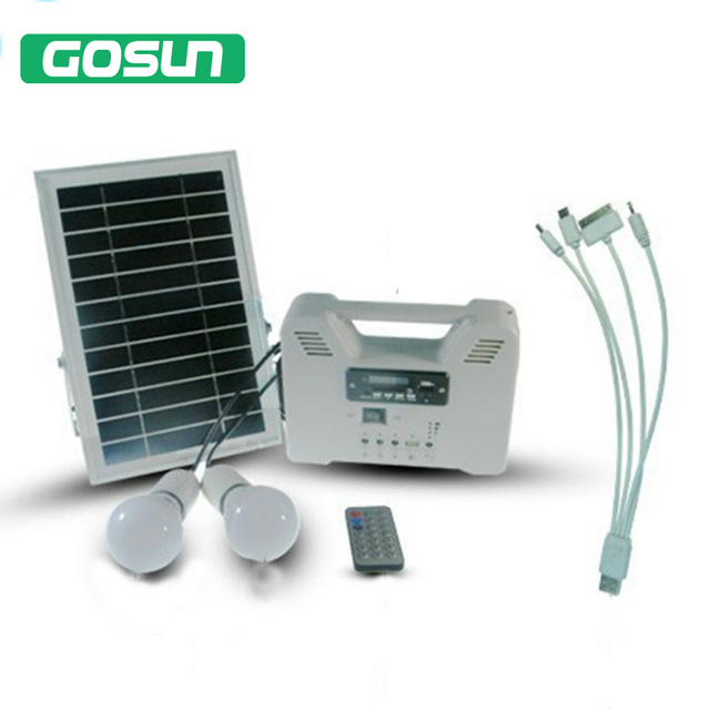 Portable Solar Home Lighting System 2 lamps with PV Panels With Radio MP3 USB Function Solar System  Radio