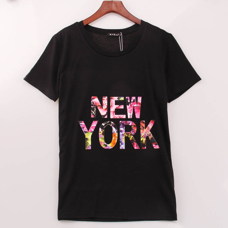 2016 rock fashion t shirt women new york printed printing for New york printed t shirts