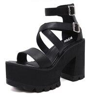 Platform Sandals Punk Shoes Woman Sandals Peep Toe Platform Shoes Wedge Sandals High Heels Shoes Women