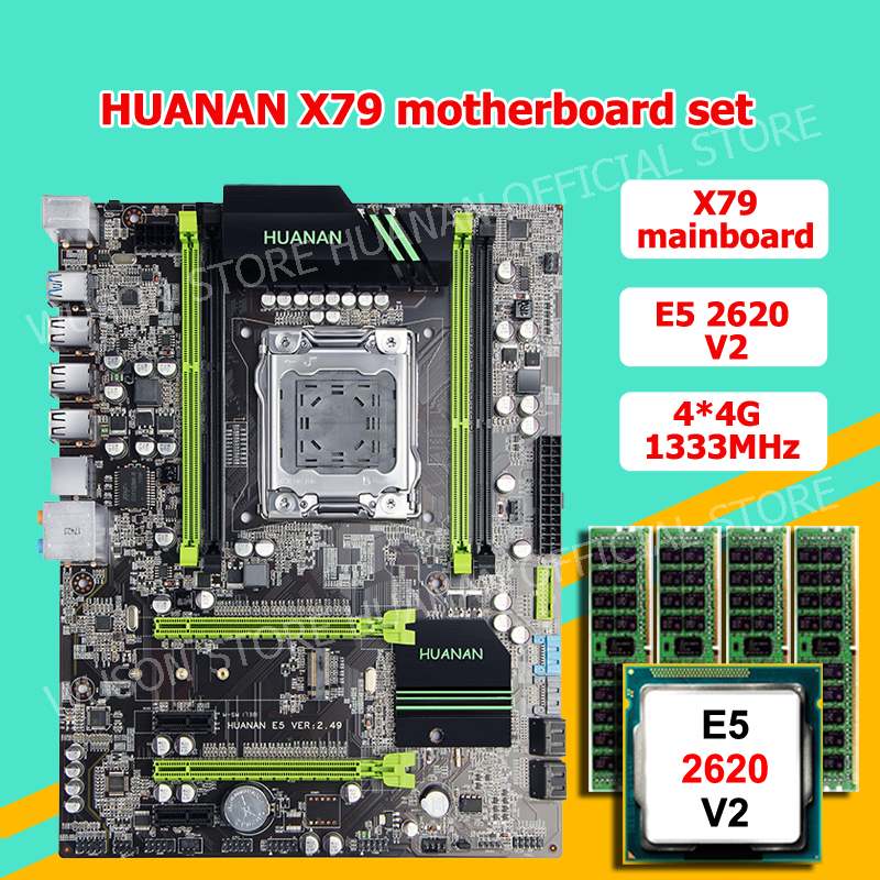 Discount motherboard CPU RAM set HUANAN ZHI X79 motherboard with M 2 CPU Xeon E5 2620