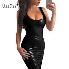 7e410ef0605 UZZDSS Shiny PU Faux Leather Dress Women 2018 Sexy Ruched Sleeveless Black  Bodycon Tank Summer Dress