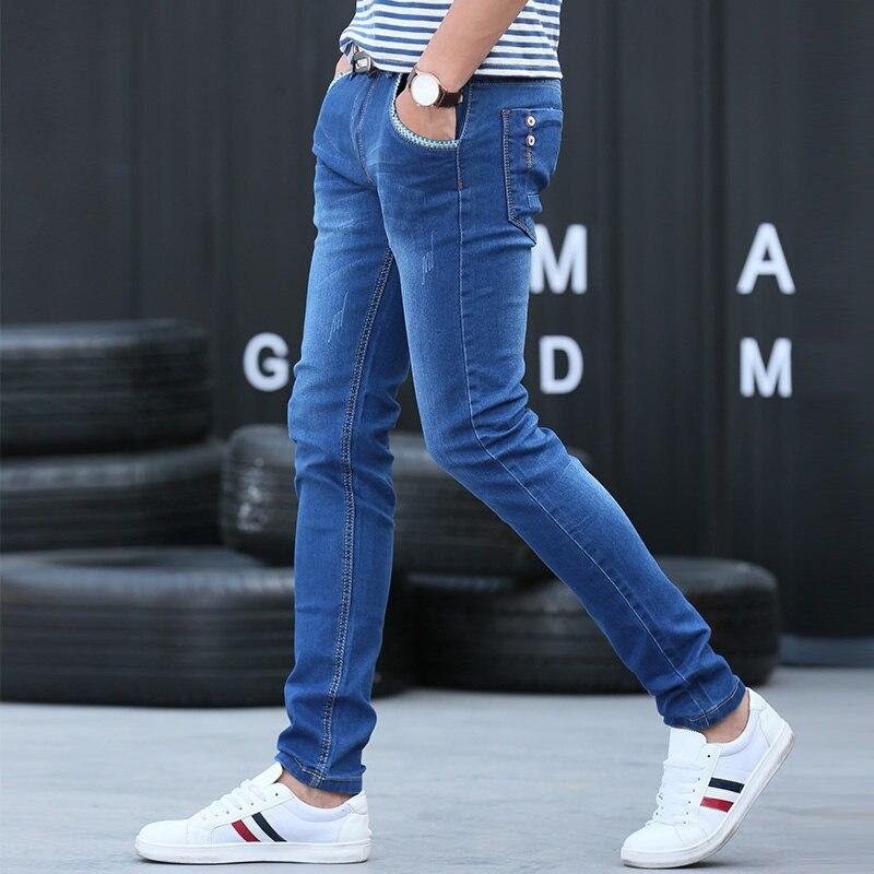 2017 Hot Sale New Brand Men's Harem Jeans Legging Denim Pants Youth Elastic Feet Pants Men Hip Hop Blue Jeans Skinny Jumpsuit hyperreality