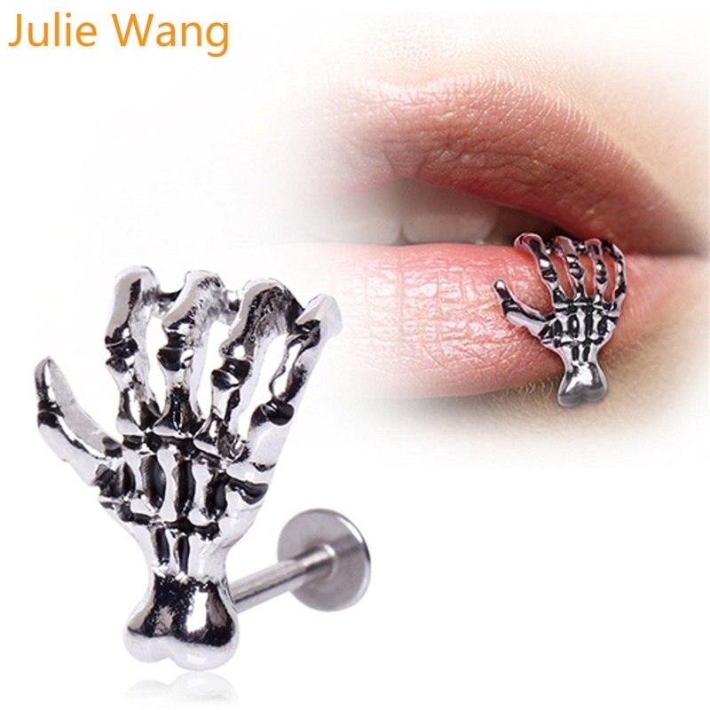 Julie Wang 1PCS Stainless Steel Hand Bone Skull Labret Piercing Lip Ring Lip Stud Piercing Ear Stud Piercing Body Jewelry