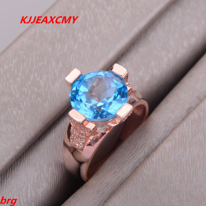 KJJEAXCMY Fine jewelry Blue natural Topaz lady ring 925 silver inlaid opening kjjeaxcmy fine jewelry 925 sterling silver inlaid natural amethyst ring wholesale opening ladies adjustable support testing
