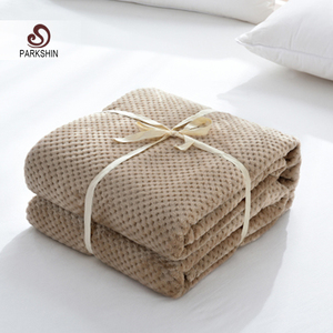 Image 1 - Parkshin Modern Khaki Flannel Pineapple Blanket Aircraft Sofa Office Adult Blanket Car Travel Cover Throw Blanket For Couch