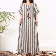 2019 Summer Women Loose O Neck Stripe Maxi Dresses Striped Casual Short Sleeve Long Dress