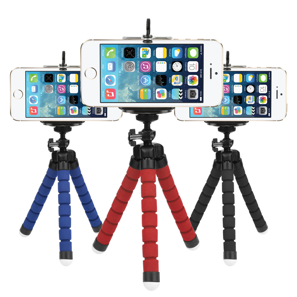 Mini Flexible Sponge Octopus Tripod for iPhone Samsung Xiaomi Huawei Mobile Phone Smartphone Tripod for Gopro