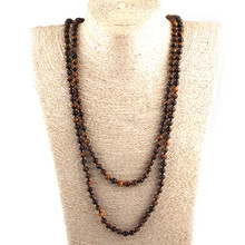 Drop Shipping Fashion 6mm Semi Precious Stones Beads 150cm Long Knotted Necklaces