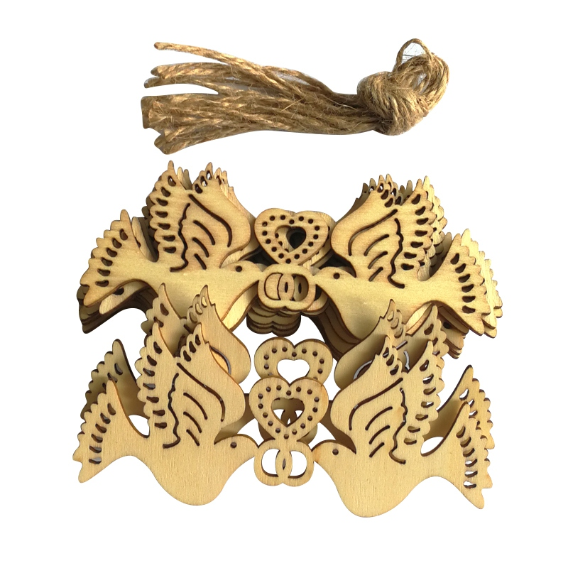 DIY Wedding Love&Bird&Mr Wooden Pendants Ornaments Christmas Party Decorations Xmas Tree Ornaments 10PCS