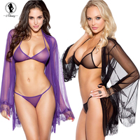 2016 Hot Style Women Sexy Underwear Sets 2 Color Temptation Perspective Exposed Breasts Backless Sexy Costumes