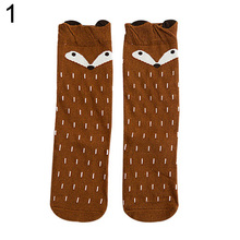 Warm Fashion Baby Children Girls Fox Pattern Socks Soft Cotton Knee High Hosiery