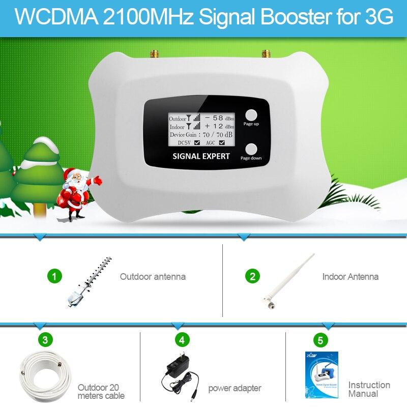2018 Design De Mode 3G Signal Booster WCDMA 2100 MHz Mobile Répéteur de Signal pour utilisation à domicile avec Yagi + Fouet antenne