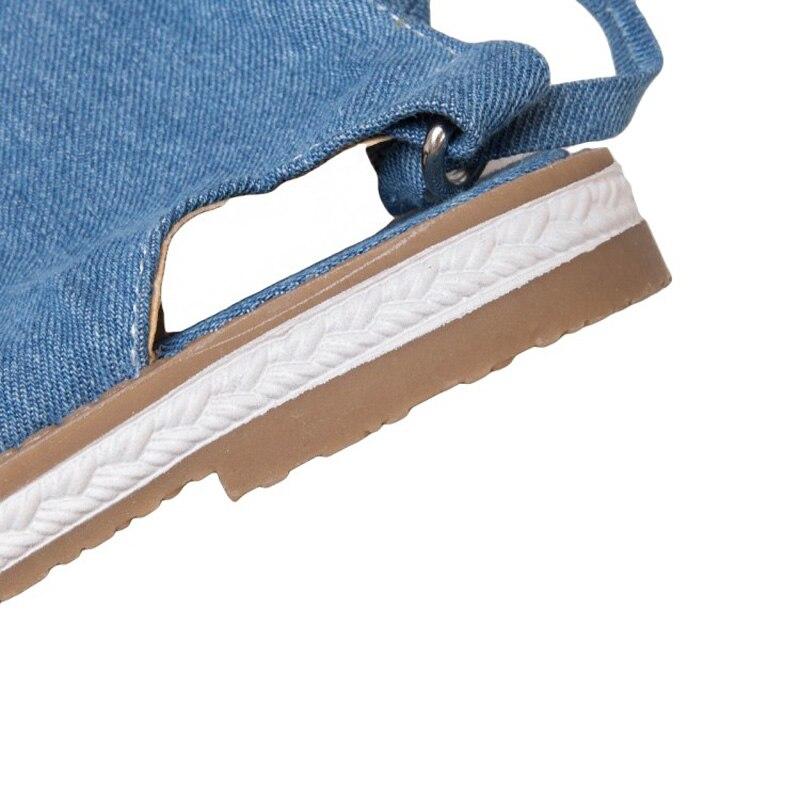 Nouvelles chaussures d'été pour femmes mode Denim genou haute femmes gladiateur sandales Sexy dos croisé noué haut tongs sandales de plage - 6