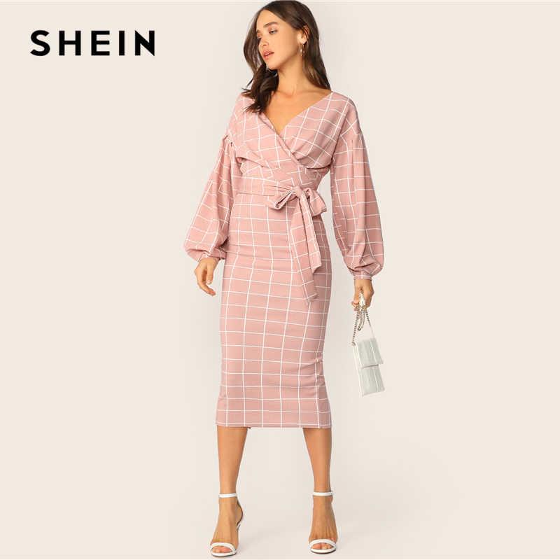 SHEIN Облегающее Платье В Клетку С Поясом И Оригинальным Рукавом Элегантное Платье-Карандаш На Запах
